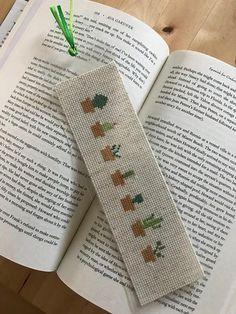 Embroidery Stitches Cactus, Cross stitch bookmark, Finished, Laminated - Cross stitch cactus bookmark for readers Cactus Cross Stitch, Simple Cross Stitch, Modern Cross Stitch, Cross Stitch Designs, Cross Stitch Patterns, Easy Cross, Cross Stitching, Cross Stitch Embroidery, Embroidery Patterns