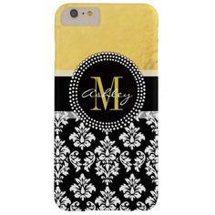 Gold Glamour Black Damask Monogram Name Barely There iPhone 6 Plus Case