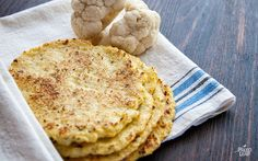 Cauliflower tortillas - can use it as a sub for bread on a grilled cheese (egg, cauliflower, mozzarella, bake until golden)