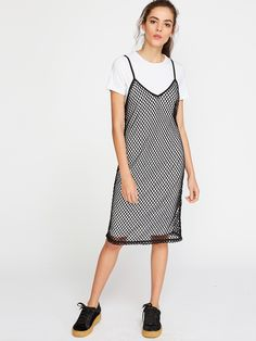 Shop Contrast Fishnet 2 In 1 Cami Dress online. SheIn offers Contrast Fishnet 2 In 1 Cami Dress & more to fit your fashionable needs.
