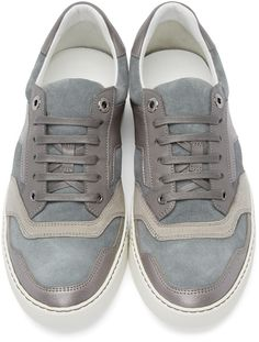 8612e40c8db3 Lanvin - Grey Suede   Leather Sneakers Cuir De Daim, Chaussures De Basket  En Cuir
