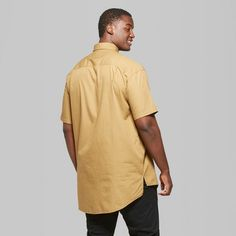 Men's Big & Tall Short Sleeve Long Line Button-Down Shirt - Original Use Dapper Brown 3XBT