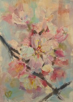 Cherry Blossom, Cherry Tree, Blossoms, Spring flowers, Easter, Palette Knife, Impressionistic, Flowering Tree, Original Oil, 5x7, Pastel by CarolDeMumbrumArt on Etsy