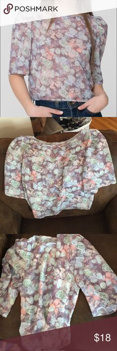 American Apparel Cropped Blouse Beautiful sheer chiffon material with flower print. Light weight and structured. American Apparel Tops Blouses