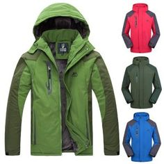 Mens Outdoor Jackets Thick Plush Lined Water Repellent Jacket Windproof Coat