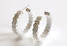 Designer Inspired Sterling Silver Mesh Earrings