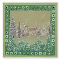 Jayne Nestorenko's Winter Scene - Cat  Groovi Plate A4 Square