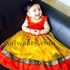 Baby in Rich Mustard Net Lehenga - Indian Dresses Frocks For Girls, Kids Frocks, Dresses Kids Girl, Kids Outfits, Baby Lehenga, Kids Lehenga, Net Lehenga, Kids Dress Wear, Baby Dress