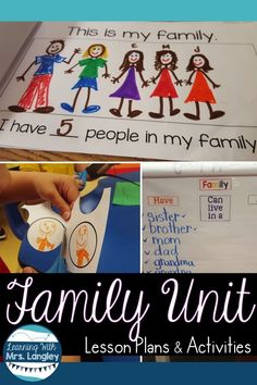 Family Unit for Kindergarten This kindergarten or first grade family unit is a perfect for teaching during back to school . Take your All About Me unit to the next level with activities, projects, and lesson plans that are fun and easy to implement. Preschool Social Studies, Preschool Lesson Plans, Preschool Activities, Family Activities, Social Activities, Preschool Family Theme, Preschool Classroom, Kindergarten Projects, Teaching Social Studies
