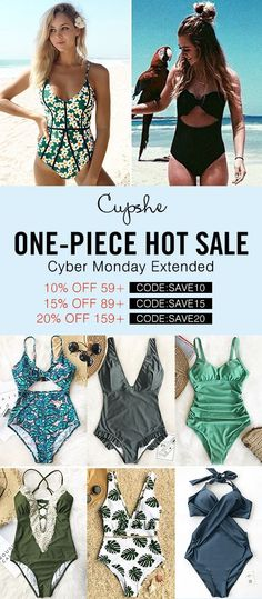 One-piece hot sale! Cyber Monday extended! Shop more save more~ Who needs any other swimsuit when one-piece meets all your needs? Check these flattering suits and stun the whole beach! FREE shipping~ SHOP NOW.