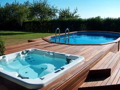 Above ground pools with decks Awesome Photo) - an essential guide for those looking at installing an above ground pool for their home. a budget Above Ground Pool Landscaping, Backyard Pool Landscaping, Backyard Pool Designs, Small Backyard Pools, Outdoor Pool, Small Pools, Backyard Ideas, Above Ground Swimming Pools, Swimming Pools Backyard