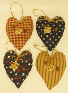 Heart Ornament Homespun and Patriotic Fabric by PearcesCraftShop