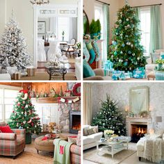 Interior designs with perfect decoration for Christmas! Different shades and colors but all absolutely charming!