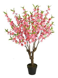 43.5' Potted Decorative Artificial Pink, Green and Brown Peach Floral Blossom Tree * Check out the image by visiting the link.