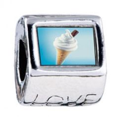 Vanilla Ice Cream Cone Photo Love Charms  Fit pandora,trollbeads,chamilia,biagi,soufeel and any customized bracelet/necklaces. #Jewelry #Fashion #Silver# handcraft #DIY #Accessory