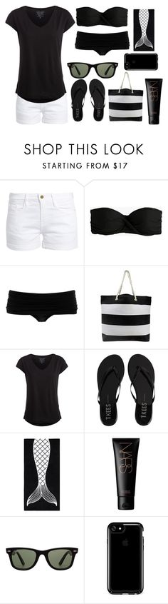 """""""black and white summer"""" by a-hidden-secret ❤ liked on Polyvore featuring Frame, J.Crew, Norma Kamali, Pieces, Tkees, PBteen, NARS Cosmetics, Ray-Ban and Speck"""