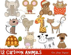 INSTANT DOWNLOAD: Digital Cartoon Animals by OneStopDigital