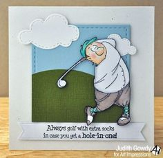 Jimmy-Golfer.Sold separately are the words. Check out my ebay store they  Can be purchased there: Pat's Rubber Stamps & Scrapbooks, click on the picture to see it, or call me 423-357-4334 with order, or come by 1327 Glenmar Ave. Mt Carmel, TN 37645, Pat's Rubber Stamps & Scrapbook supplies 423-357-4334. We take PayPal. You get free shipping with the phone orders of $30.00 or more. Use my search engine to find all items you are interested in