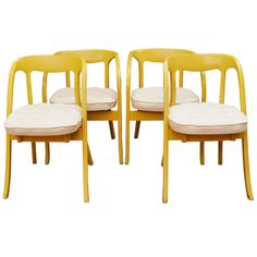 Set of Four Painted Mid-Century Modern Dining Chairs