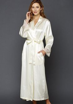 You called for luxury? This luscious, full-length silk robe will have you feeling pampere. Vietnamese Traditional Dress, Vietnamese Dress, Pajama Outfits, Dress Outfits, Silk Nightgown, Cheongsam Dress, Satin Lingerie, Satin Slip, Satin Dresses