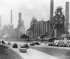 Blast furnaces from Pittsburgh Northside Steel Works, 1950's. Demolished in 1980s.