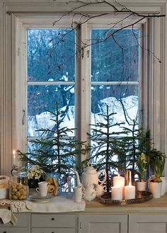 Cozy warm cottage window at Christmas.