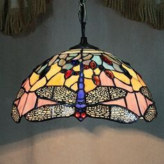12-inch Vintage Dragonfly Stained Glass Tiffany Ceiling Lamp Pendant Lamp Living Room Light Hallway Lamp: Amazon.co.uk: Lighting