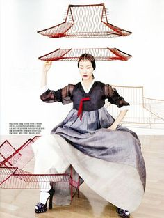 """Vogue Korea August 2012 Issue Editorial: """"Fashion into Art"""" Photographer: Kang Hyea Won Stylist: Seo Young Hee Korean Traditional Clothes, Traditional Fashion, Traditional Outfits, Traditional Wedding, Fashion Mode, Korea Fashion, Japan Fashion, Korean Dress, Korean Outfits"""