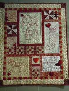 Wow, Awesome quilt and a free pattern for it from Kaaren at The Painted Quilt. Many other free patterns to embroider and quilt Christmas Quilt Patterns, Christmas Sewing, Christmas Embroidery, Christmas Quilting, Primitive Christmas, Christmas Crafts, Merry Christmas, Small Quilts, Mini Quilts