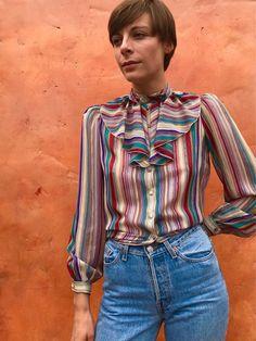 b63bdbae12c Vintage 1970s 1980s high Sheer ruffle collar blouse. 70s shirt Boho gypsy  hippie victorian ruffle Blue Gray Purple puffed sleeves S M