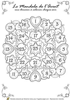 mandala noel calendrier avent Noel Christmas, Christmas Crafts For Kids, Christmas Activities, Christmas Countdown, Christmas Printables, Christmas Colors, Holiday Crafts, Theme Noel, Bullet Journal Inspiration
