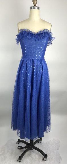 Vintage 80s Blue Metallic Sparkly Ruffle strapless Midi Cinderella Party Dress 7 #SteppinOut #BallGown #Formal