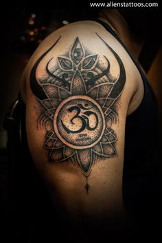 "Dotwork Abstract Design with Om, Concept, Design and Inked by Sunny at Aliens Tattoo, Mumbai, Client wanted to write ""Om Datta Narayan"" with some abstract design. Worked on his concept based on his design brief. As we talked about adding some Lord Shiva's elements in the tattoo, This design consist of abstract Lord Shiva's Trishul with his middle eye open. This is my first attempt of dotwork tattoo. Hope you all liked the tattoo."