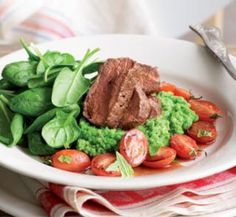 Seared lamb with pea mash