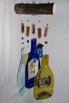 Fused Glass Wine Bottle Wind Chimes by Judy Henderlight