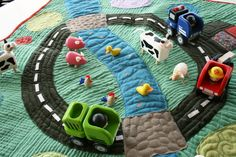 super fun quilt play mat for baby, from snapdragongarden
