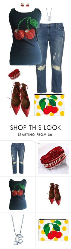 """""""Cherry bombshell- plus size"""" by gchamama ❤ liked on Polyvore featuring James Jeans, Aquazzura and Alex Woo"""