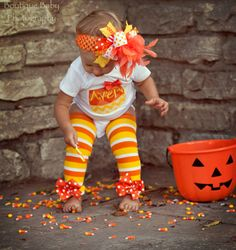 Baby Girl Halloween Outfit - Candy Corn Sweetie - personalized onesie, leg warmers and Over The Top bow - yellow and orange chevron on Etsy, $59.95