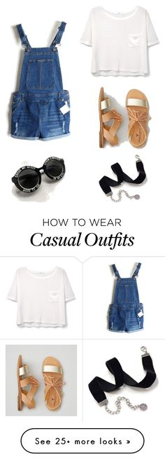 """Summer Casual"" by jessicavuuu on Polyvore featuring MANGO, American Eagle Outfitters and Sweet Romance"