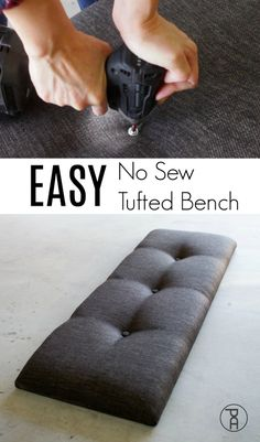 EASY No Sew Tufted Bench Hack How to make a tufted headboard bench or other furniture using a super simple no sew hack! Quick and easy video tutorial. The post EASY No Sew Tufted Bench Hack appeared first on Upholstery Ideas. Tufting Diy, Diy Tufted Headboard, Tufted Bench, Diy Headboards, Bench Cushions, Headboard Benches, Cricut Vinyl, Diy Design, Modern Design