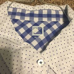 Polka Dot Button Up White and Blue Polka Dot Button Up with Checkered Collar and Cuffs jcpenney Tops Button Down Shirts