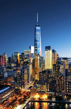 One WTC at night by newyorkcityfeelings.com - The Best Photos and Videos of New York City including the Statue of Liberty Brooklyn Bridge Central Park Empire State Building Chrysler Building and other popular New York places and attractions.