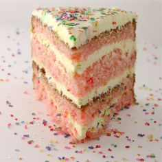 Strawberry Lemonade Birthday Cake with delicious Jellow frosting.