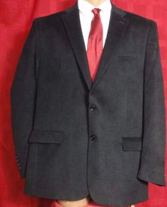 Nautica Black Polyester Blend 2 Button Sport Coat Size 44L #Nautica #TwoButton