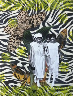 """Seeing Double Mixed media collage on wood panel 9"""" X 12"""" vintage women, vintage art, women, collage, mixed media"""