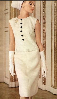 Model is wearing slim dress from Burda Moden 60s white shift dress gloves hat day buttons color photo print ad model magazine vintage fashion