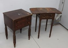 """Two 19thC stands, both with two drawers, wood pulls, turned legs, and dovetail construction, drop leaf stand 17""""x17""""x28.5""""T, other with chamfered drawers 21""""x17""""x28""""T."""