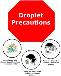 Droplet Precaution reduces the risk for workers and visitors from inhaling droplet caused by Influenza, Measles, Impetigo, Chicken pox and TB. College Nursing, Nursing School Tips, Nursing Tips, Nursing Notes, Airborne Precautions, Contact Precautions, Infection Control Nursing, Rn School, Nursing Mnemonics