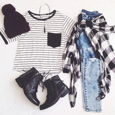 Striped Top, Flannel, Distressed Jeans, Ankle Boots
