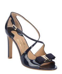 Salvatore Ferragamo - Oxford Blue Patent Calfskin Gabrielle ; Bow Details Sandals
